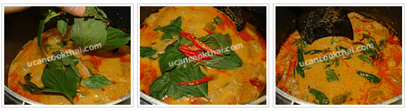 Preparation for Pork Red Curry with Pumpkin: No.6 Simmer for 30 minutes, add sweet basil leaves and sliced chilies, stir quickly and remove from heat