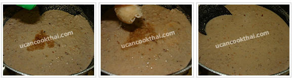 Preparation for Pork and Prawn in Coconut Sauce: No.9 Season, stir well and taste as your own flavor