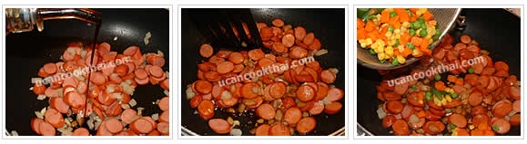 Preparation for Sausage Fried Rice: No.6 Season, stir fry well and add mixed vegetable
