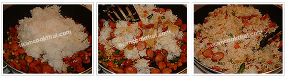 Preparation for Sausage Fried Rice: No.8 Add cooked rice, stir fry until all ingredients mix thoroughly, then remove from heat