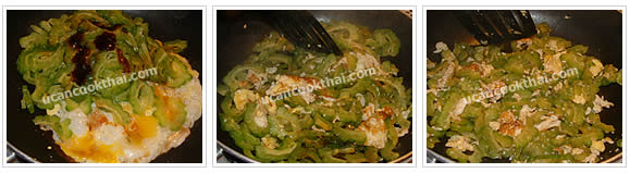 Preparation for Stir-fried Bitter Gourd with Eggs: No.9 Season, stir fry quickly, then remove from heat