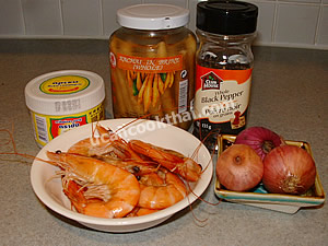 Spice Mixture Paste Ingredients: krachai, shallots, whole black peppercorn, cooked prawns, shrimp paste
