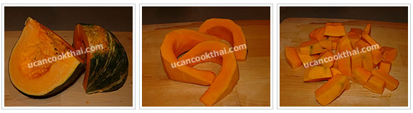 Preparation for Mixed Vegetable Spicy Soup: No.1 Cut pumpkin into small pieces