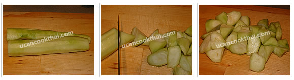 Preparation for Mixed Vegetable Spicy Soup: No.2 Cut sponge gourd into pieces