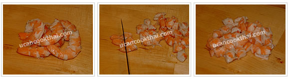 Preparation for Mixed Vegetable Spicy Soup: No.6 Peel cooked prawn sheel, devein and cut into small pieces