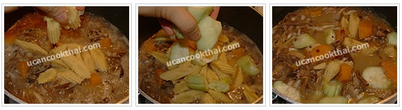 Preparation for Mixed Vegetable Spicy Soup: No.11 Add sliced baby corn and cut sponge gourd, then stir well