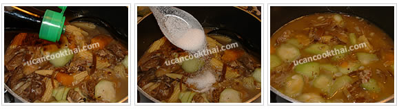 Preparation for Mixed Vegetable Spicy Soup: No.12 Season, stir thoroughly and taste