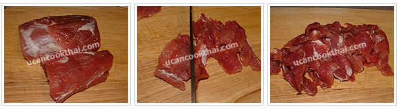 Preparation for Stir-fried Pork with Dried Chilies: No.1 Cut pork tenderloin into small pieces