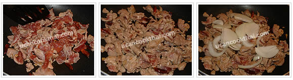 Preparation for Stir-fried Pork with Dried Chilies: No.7 Stir fry until the pork is getting cook, then add sliced onion