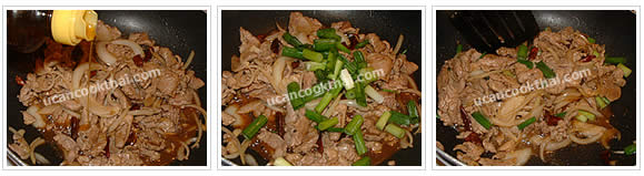Preparation for Stir-fried Pork with Dried Chilies: No.9 Add sesame oil and green onion, stir fry quickly and remove from heat