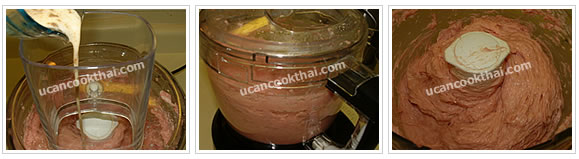 Preparation for Pork Ball: No.3 Pour mixing ingredients into the food processor and blend until all ingredients mix well
