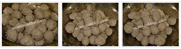 Preparation for Pork Ball: No.8 Wash pork balls with warm water and drain