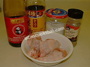 Ingredients for marinate chicken: chicken wing oyster sauce thin soy sauce sugar ground pepper