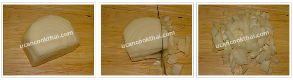 Preparation for American Fried Rice: No.3 Cut onion into small dices