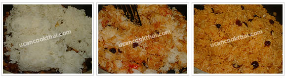 Preparation for American Fried Rice: No.11 Add cooked rice, stir fry until all ingredients mix thoroughly, taste and remove from heat