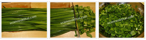 Preparation for Chives Square Cake: No.1 Cut Chinese chives into small pieces