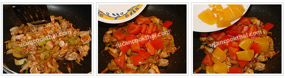 Preparation for Sweet and Sour Orange Chicken Stir-fried: No.9 Stir-fry thoroughly, then add cut tomato and orange