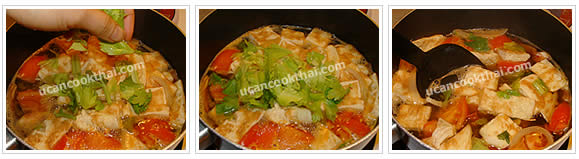 Preparation for Thai Omelette Soup: No.9 When the soup boils again, add celery leaves, stir well and remove from heat