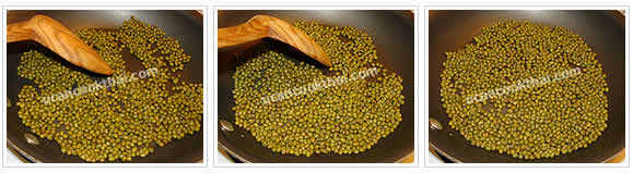 Preparation for Mung Beans in Syrup: No.2 Dry fry on low heat until fragrant, remove from heat
