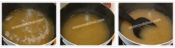 Preparation for Mung Beans in Syrup: No.5 Bring to boil, then reduce heat to low, stir regularly until they are tendered
