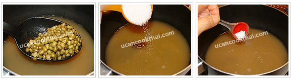 Preparation for Mung Beans in Syrup: No.6 Add sugar and salt, stir well and boil for 5 minutes