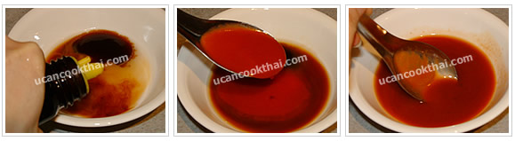 Preparation for Tofu with Spicy Sauce: No.3 Add spicy sauce ingredients in the mixing bowl and mix well