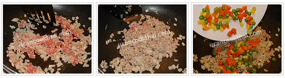 Preparation for Tofu with Spicy Sauce: No.6 Stir fry until ground pork is getting cook, then add mixed frozen vegetables