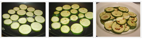 Preparation for Grilled Zucchini with Spicy Salad: No.2 Grill both sides of zucchini, then arrange on a plate
