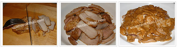 Preparation for Tendered Pork with Mustard Sauce: No.10 Slice the porks into pieces. Place on a plate and pour the sauce over