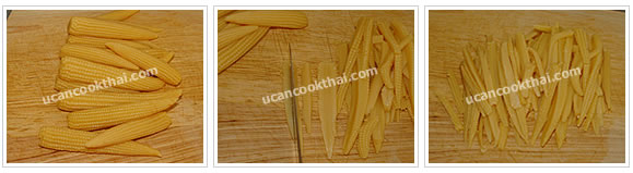 Preparation for Crispy Noodles with Chicken Gravy: No.11 Cut young corn into strips