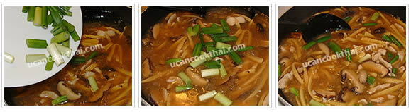 Preparation for Crispy Noodles with Chicken Gravy: No.16 Add green onion, stir well, then remove from heat