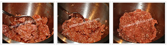 Preparation for Fried Ground Pork with Red Sauce: No.2 Knead all ingredients until well blend, set aside for 30 minutes