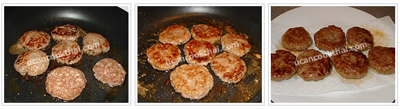 Preparation for Fried Ground Pork with Red Sauce: No.4 Fry each side until well done, then drain on paper towel
