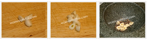 Preparation for Lobok Soup with Pork Rib: No.2 Cut garlic into small pieces and put in the mortar