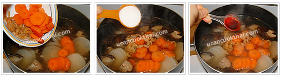 Preparation for Lobok Soup with Pork Rib: No.12 Add carrot and dried shrimp, then season with sugar and soy sauce