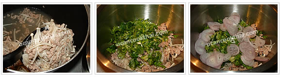 Preparation for Spicy Enoki Mushroom Salad: No.8 Put ground pork and mushroom in a mixing bowl, then add sliced green onion, cilantro and shallot