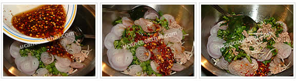 Preparation for Spicy Enoki Mushroom Salad: No.9 Pour spicy dressing and mix thoroughly