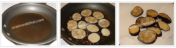Preparation for Stir-fried Eggplant with Salted Soy Bean: No.2 Fry eggplant for a while, then drain on paper towel