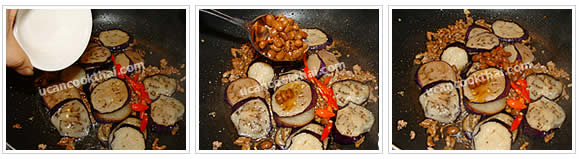 Preparation for Stir-fried Eggplant with Salted Soy Bean: No.7 Add sliced chilies, water and salted soy bean