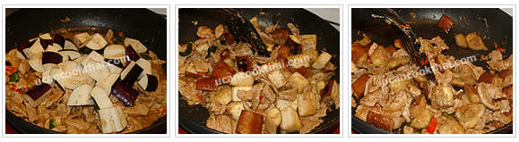 Preparation for stir-fried spicy eggplant: No.11 Add eggplants, stir-fry regularly until the eggplants are cooked
