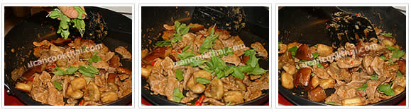 Preparation for stir-fried spicy eggplant: No.12 Add basil leaves, stir-fry quickly until all ingredients mix together, then remove from heat