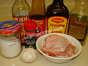 Fried Chicken with Garlic and Pepper Ingredients: chicken meat, garlic, oyster sauce, soy sauce, pepper, sugar, vegetable oil