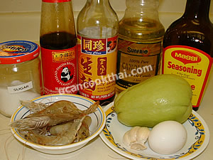 Stir-fried Chayote with Egg & Shrimp Ingredients: chayote, shrimps, egg, garlic, oyster sauce, soy sauce, sugar, vegetable oil