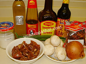 Stir-fried Pork with Oyster Sauce Ingredients: marinated pork, mushroom, dired chilies, onion, green onion, sugar, soy sauce, seasoning soy sauce, oyster sauce, oil