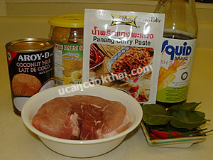 Pork Panang Curry Ingredients: pork, coconut milk, panang curry paste, fish sauce, palm sugar, kaffir lime leaves, fresh chilies