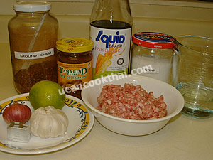 Spicy Ground Pork Dip Ingredients: ground pork, shallot, garlic, tamarind paste, fish sauce, sugar, ground chilies, lime juice, chicken broth, water