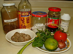 Spicy Grilled Pork Salad Ingredients: grilled pork, shallot, tomato, green onion, cilantro, lime juice, thin soy sauce sugar, hot pepper sauce, ground pepper
