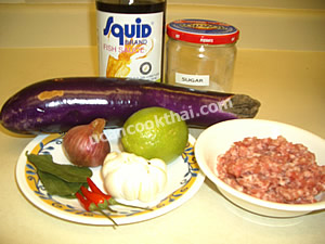 Spicy Long Eggplant Dip Ingredients: long eggplant ground pork shallot garlic chilies fish sauce lime juice sugar kaffir lime leaves