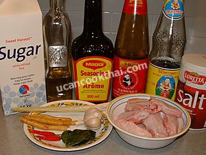 Stir-fried Chicken Wingette with Mixed Herbs Ingredients: chicken wingettes, garlic, krachai, lemongrass, kaffir lime leaves, oyster sauce, sugar, soy sauce, salt, vegetable oil