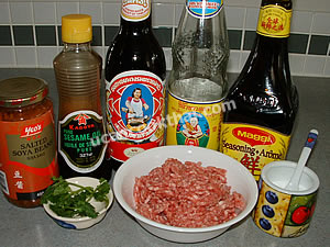 Steamed Ground Pork with Salted Soy Bean Ingredients: ground pork, thin soy sauce, seasoning soy sauce, oyster sauce, sugar, cilantro, salted soy bean